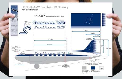 Southern DC3 livery sign writing specifications, Port Side Elevation.