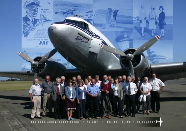 Group photo, Southern DC3, NAC 60th Anniversary Flight,