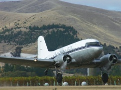 The Southern DC3 landing at Woodbourne airport, Blenheim.