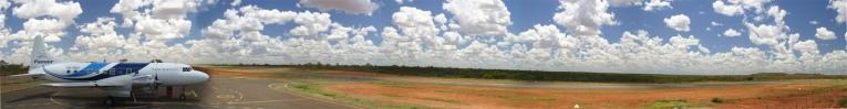 Panorama of Pionair Australia Convair VH-PDV at the Osborne mine airfield, Osborne, QLD Australia.