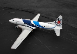 Birds eye view of Pionair Australia Convair VH-PDV (ZK-KSA) sporting its brand new fluid livery