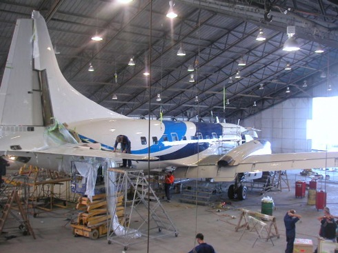 Pionair Australia Convair VH-PDV nearing the end of refurbishment project in the Fieldair hangar