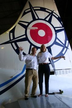 Tim Scott and Robin Tauck with Pionair Australia Convair VH-PDV (ZK-KSA