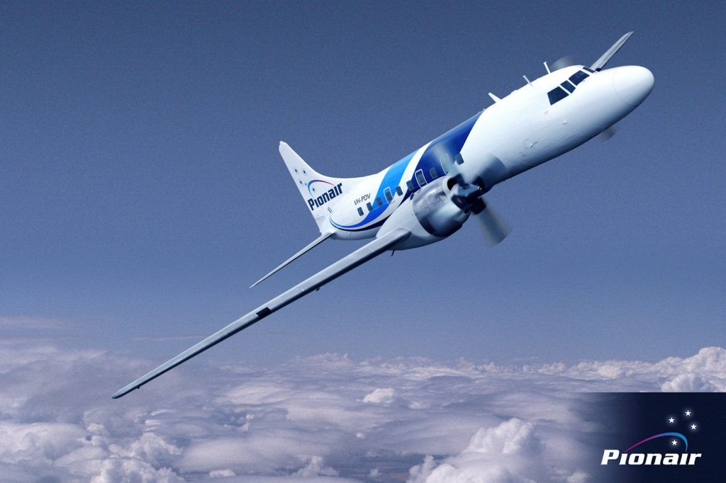 Composite air-to-air image of Pionair Australia's Convair sporting the new fluid livery.