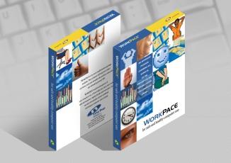 WorkPace Ergonomic resting software draft packaging concept 3D digital rendering.