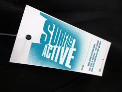 Surface Active T-shirt swingtag front.