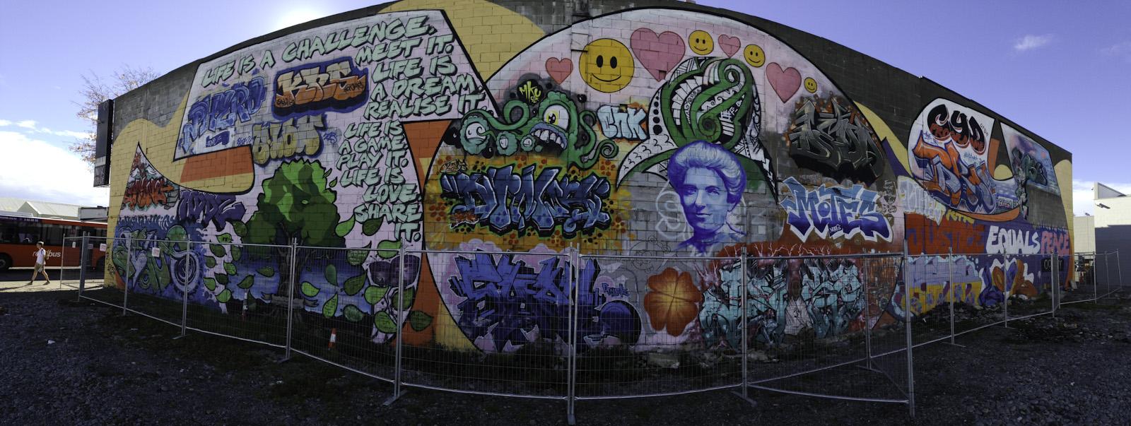 Stronger Christchurch street art Colombo Street.
