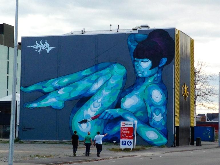 Stronger Christchurch street art view Latimer Square.