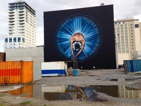 Stronger Christchurch street art view Armagh Street.