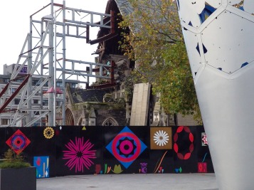 Stronger Christchurch street art Cathedral Square.