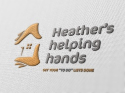 Proof of concept visual of Heather's helping hands' branding embroidered on white fabric.