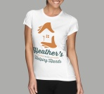 Proof of concept visual of Heather's helping hands' screen printed in two colours on white T-shirt.