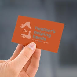 Draft concept for verso of Heather's helping hands' two colour business card design.
