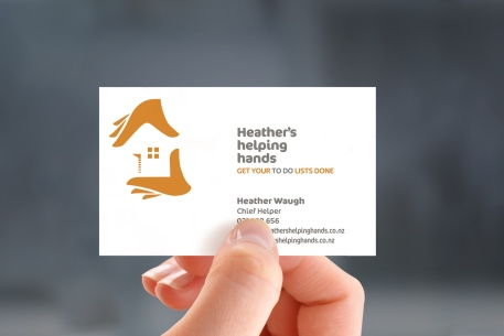 Heather's helping hands' business card, two colour, two-sided design.