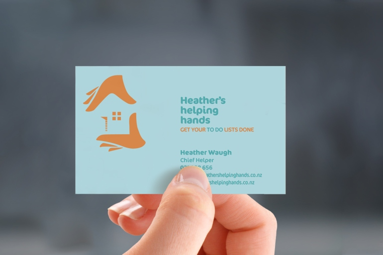 Draft concept for Heather's helping hands' business card, two colour design.