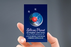 The second of Sillicon Planet's full colour, two-sided business cards features their emblem.