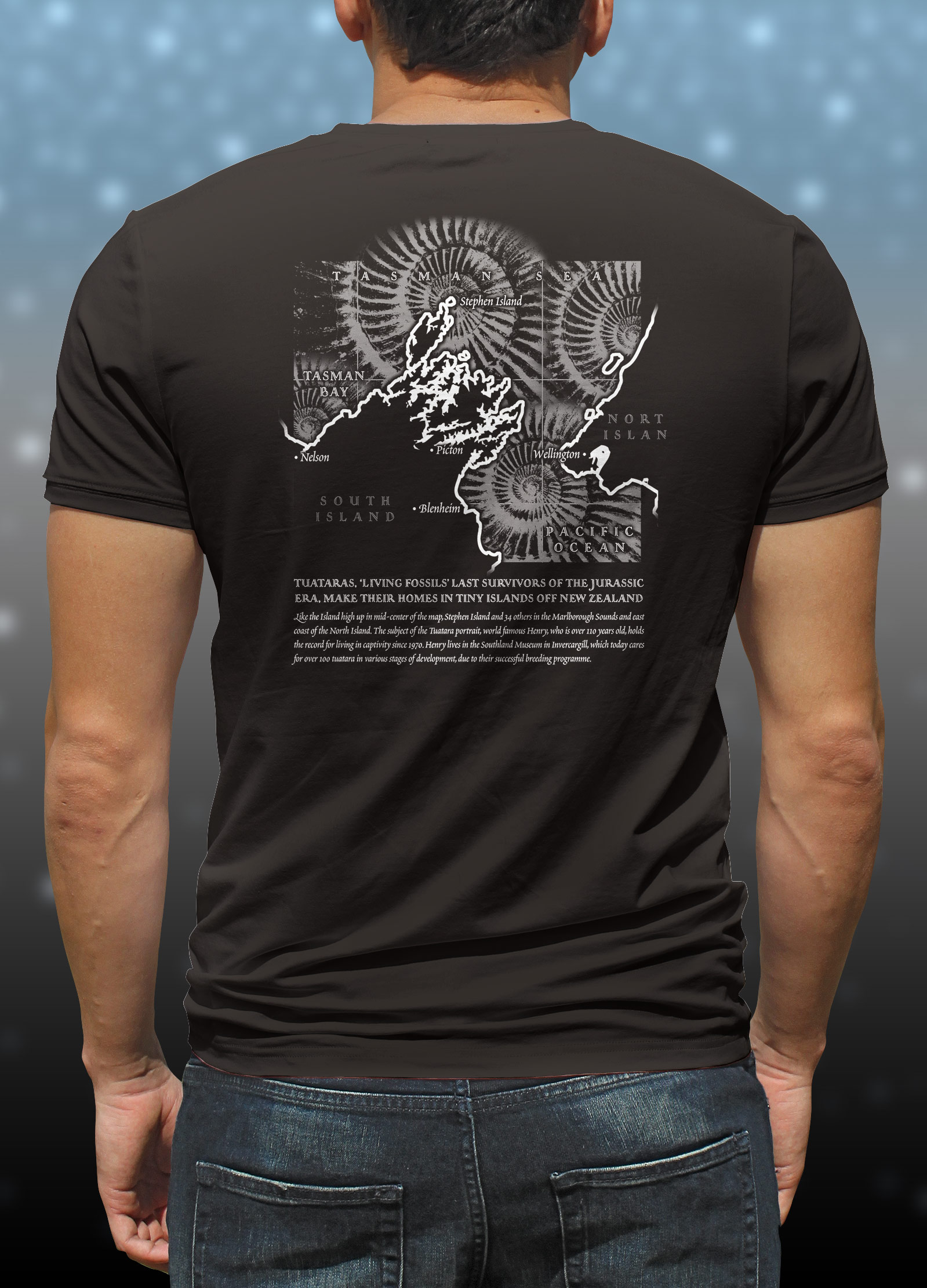 "'Tuatara - Sphenodon Punctatus' portrait T-shirt back "".iving fossil"" map of Marlborough Sounds"