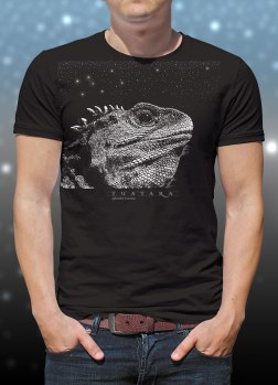 'Tuatara - Sphenodon Punctatus' two colour T-shirt print on black fabric.