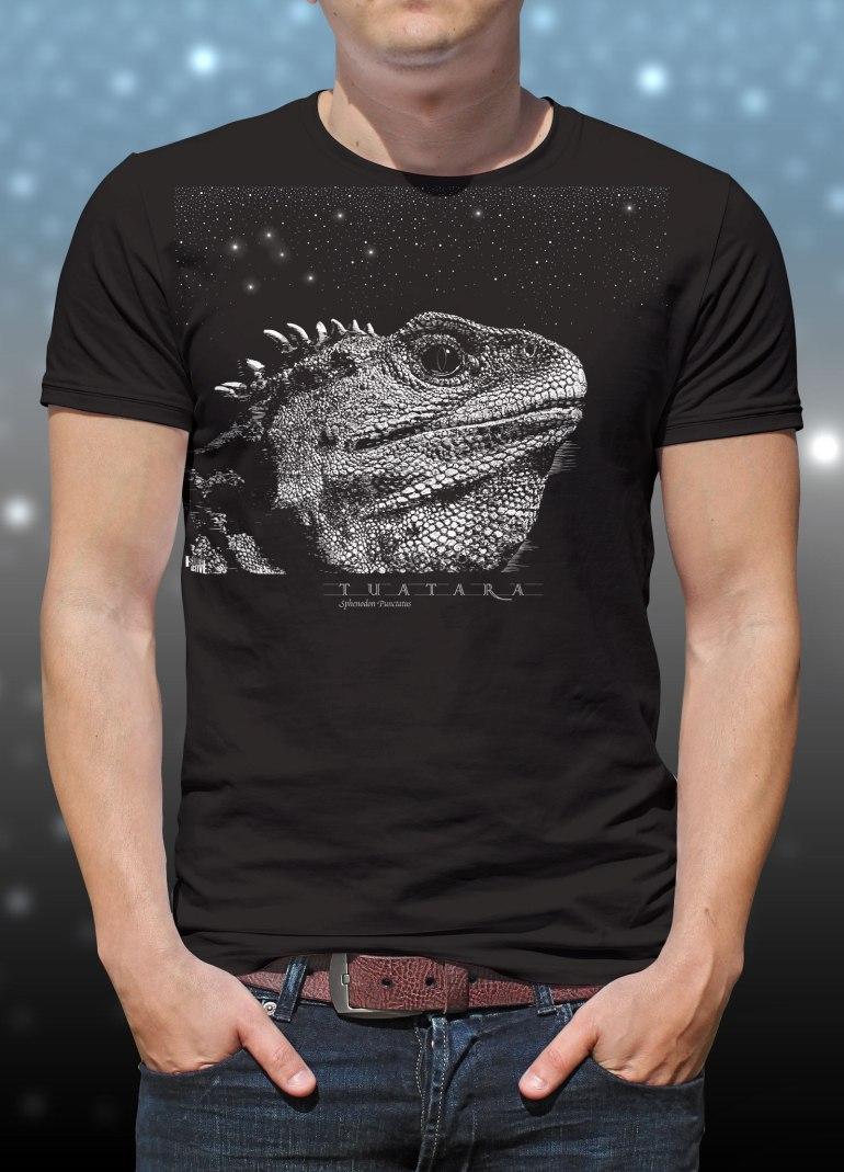 'Tuatara - Sphenodon Punctatus' two colour T-shirt print on black fabric.