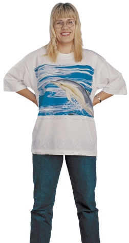 'Common dolphin - New Zealand' T-shirt, eight colour print on white fabric.