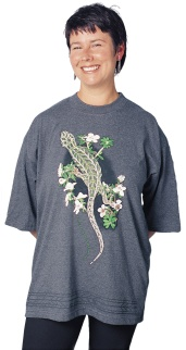 'Harlequin Gecko - New Zealand' eight colour T-shirt print on charcoal marle fabric.