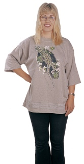 'Harlequin Gecko - New Zealand' eight colour T-shirt print on light-brown marle fabric.