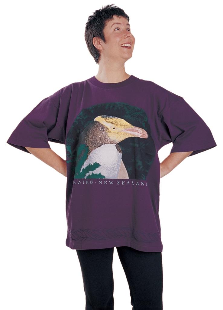 'Hoiho - New Zealand' T-shirt, eight colour print on deep violet fabric.