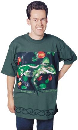 'Jewel Gecko - New Zealand' eight colour T-shirt print.