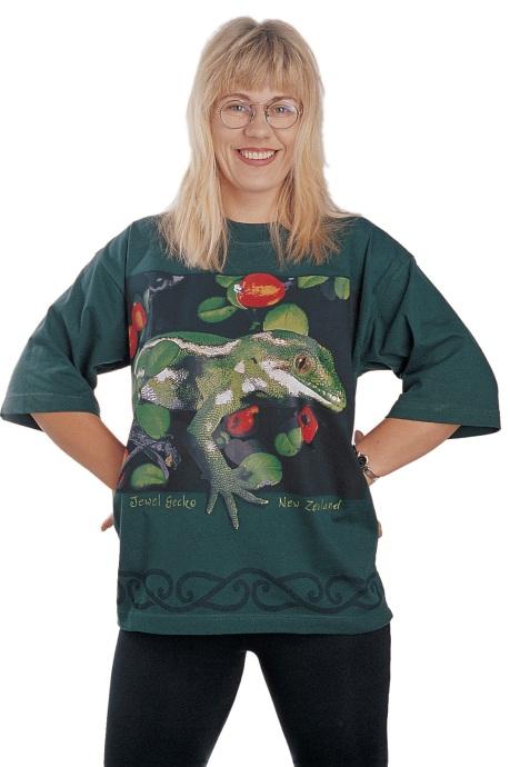 'Jewel Gecko - New Zealand' eight colour T-shirt print on dark green fabric.