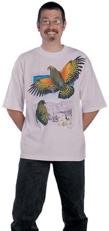 'Kea - New Zealand' T-shirt, eight colour print on white fabric. Placement; eight colour front.