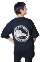 'Kiwi - New Zealand' one colour T-shirt print on black fabric.