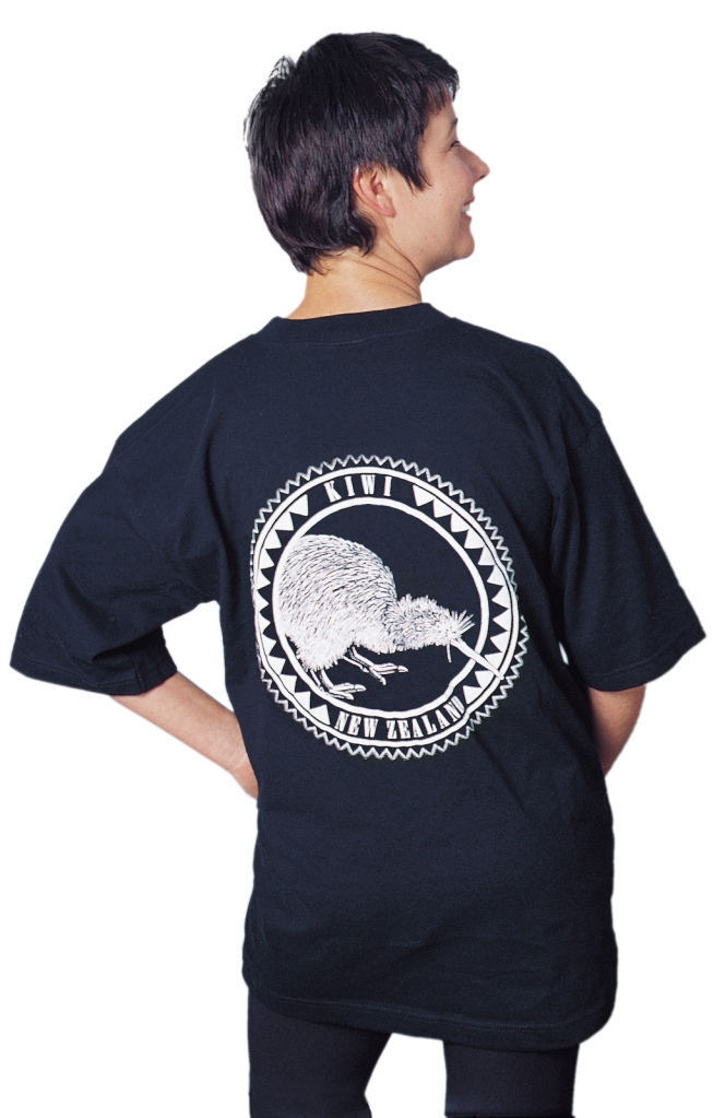 'Kiwi - New Zealand' one colour T-shirt print on black fabric.