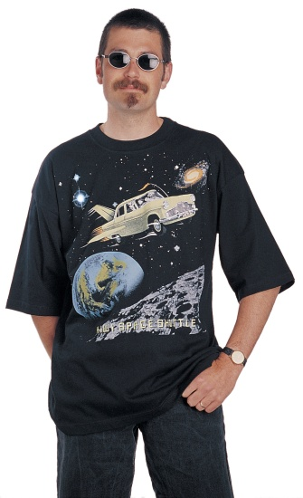"Surface Active Mark III Zephyr ""Kiwi Space Shuttle"" black teeshirt"