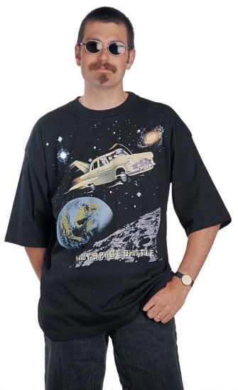 "Paul wears the Surface Active Mark III Zephyr ""Kiwi Space Shuttle"" black teeshirt"