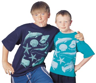 Bjorn and Rowan wear 'Ocean - New Zealand' one colour children's T-shirt print on navy blue and jade green fabric