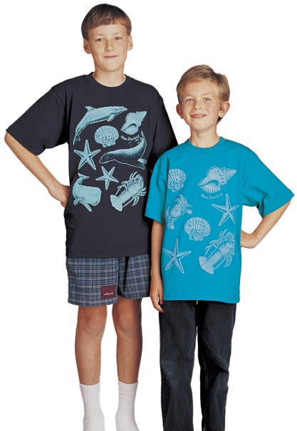 'Ocean - New Zealand' and 'Seashore - New Zealand' one colour children's T-shirt prints on navy blue and jade green fabric.