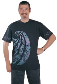 'Paua Aotearoa' T-shirt, four colour print on black fabric.