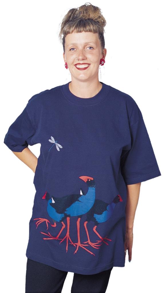 'Pukeko New Zealand' four colour T-shirt print on navy blue fabric.