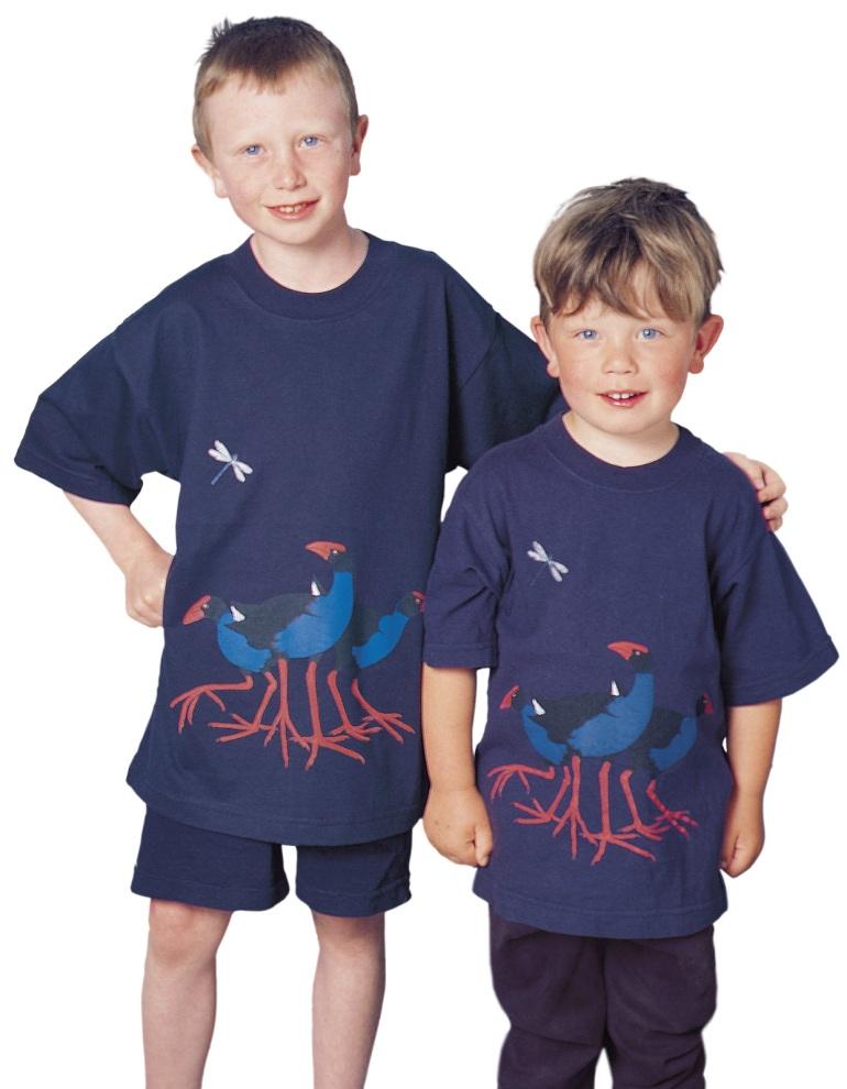 'Pukeko New Zealand' four colour children's T-shirt print on navy blue fabric.