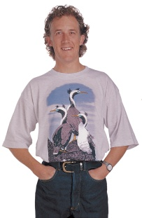 'Spotted Shags - New Zealand' T-shirt, seven colour print on grey marle fabric