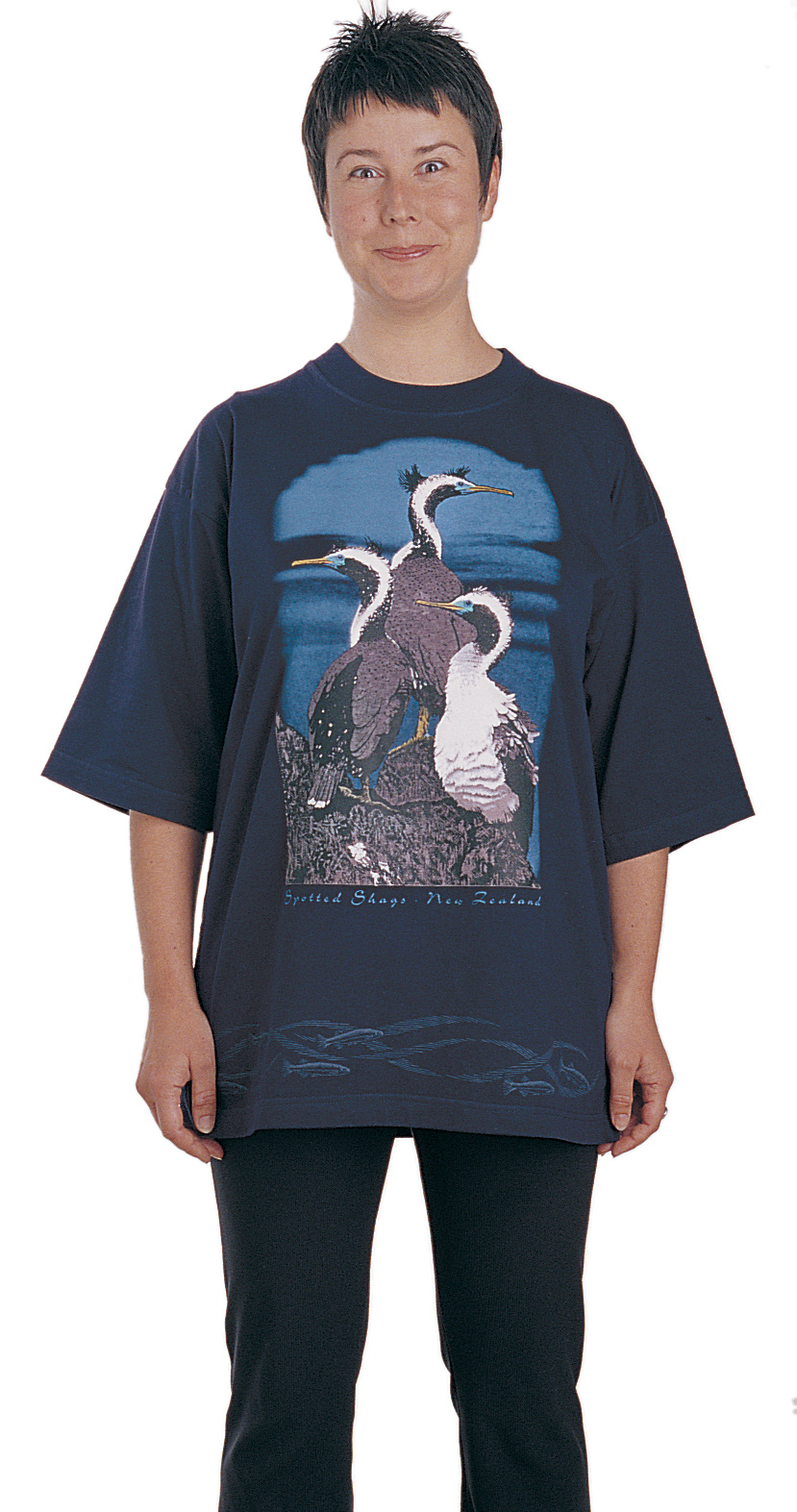 'Spotted Shags - New Zealand' T-shirt, seven colour print on navy blue fabric.
