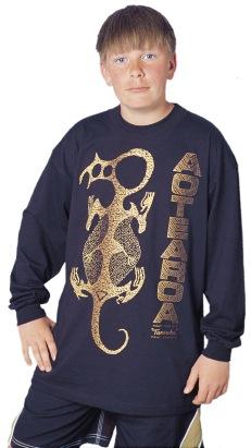 'Taniwha Aotearoa - Maori rock art New Zealand. One colour long sleeve T-shirt print on black fabric.