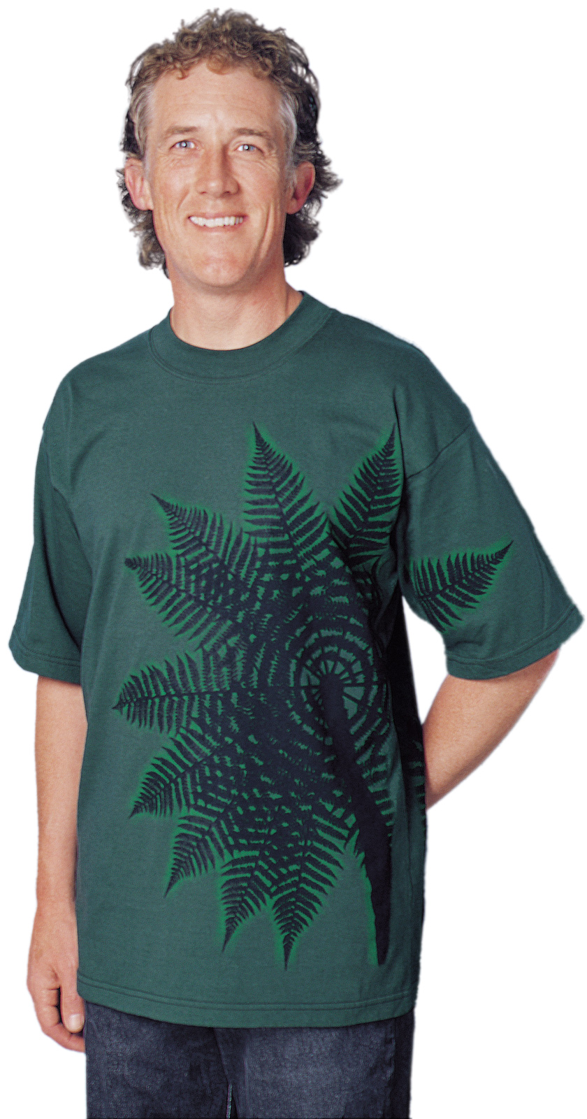 'Treefern New Zealand' T-shirt, two colour print on dark green fabric.
