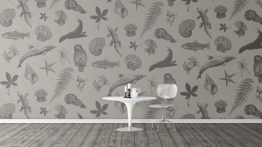 Surface Active wildlife collage design fabric print as wallpaper.