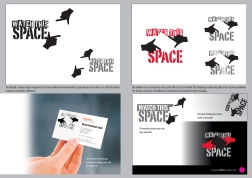 Watch This Space logo presentation document page showing variations of symbol and type combinations.