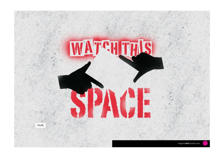 Watch This Space logo presentation document page showing an unslick iteration of the logo graffiti stencil spray bombed onto concrete.