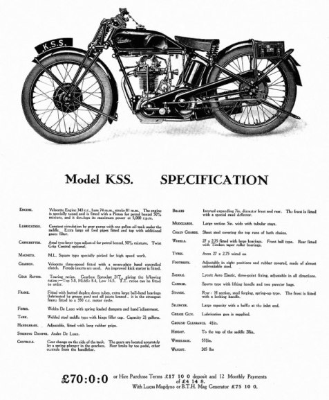 Velocette, KSS, 1929, specification