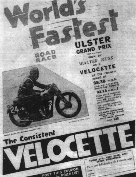August 1934, advertisement, Walter Rusk, 'the Belfast popular idol', Big Velo, race victory, 500cc Ulster Grand Prix, record speed, record lap