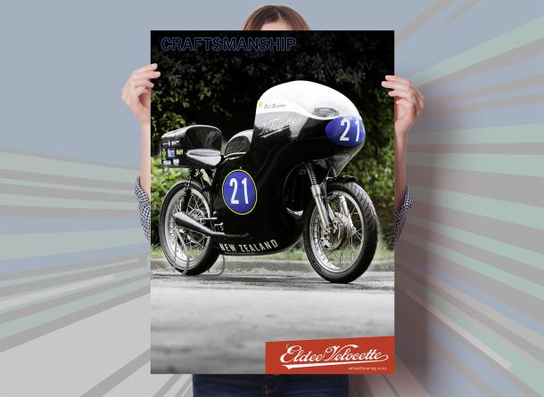 Eldee Velocette, front three-quarter, poster, A2, portrait, Craftsmanship, mock-up
