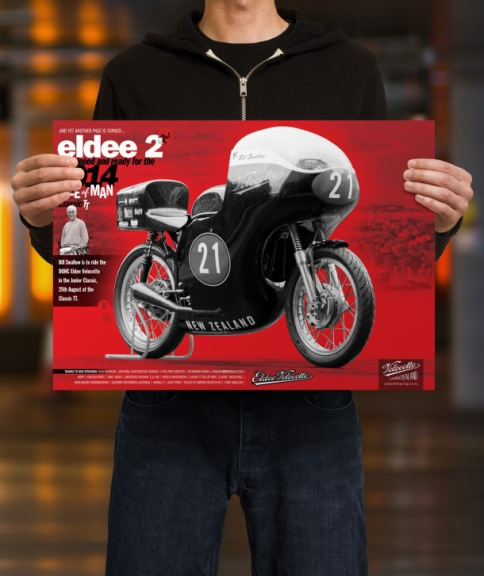 Eldee 2, Velocette, equipped and ready, launch poster, A3, mockup, male holding